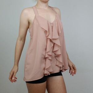 LC Blush Cascade Frill & Lace Top